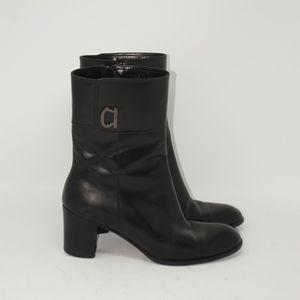 Luxury Salvatore Ferragamo Black Leather Boots